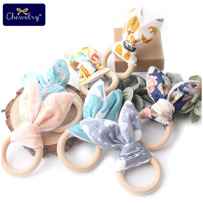 CHEWELRY 1PC 70mm Baby Teether Bunny Ear Wooden Teething Rings Toys Wood Circle Fabric Training Bite Chew Baby Bracelet BPA Free