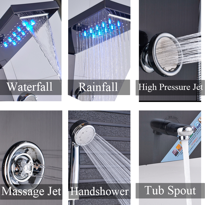 Image 4 - LED Shower Panel Stainless Steel Wall Mount Shower Column Panel Tower System LED Rain Waterfall Shower Jets Tap Hand Shower Tub-in Shower Faucets from Home Improvement