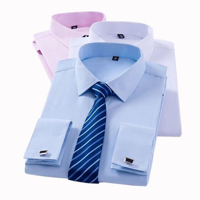 Men's Classic French Cuff Dress Shirts Long Sleeve No Pocket Tuxedo Male Shirt with Cufflinks 1