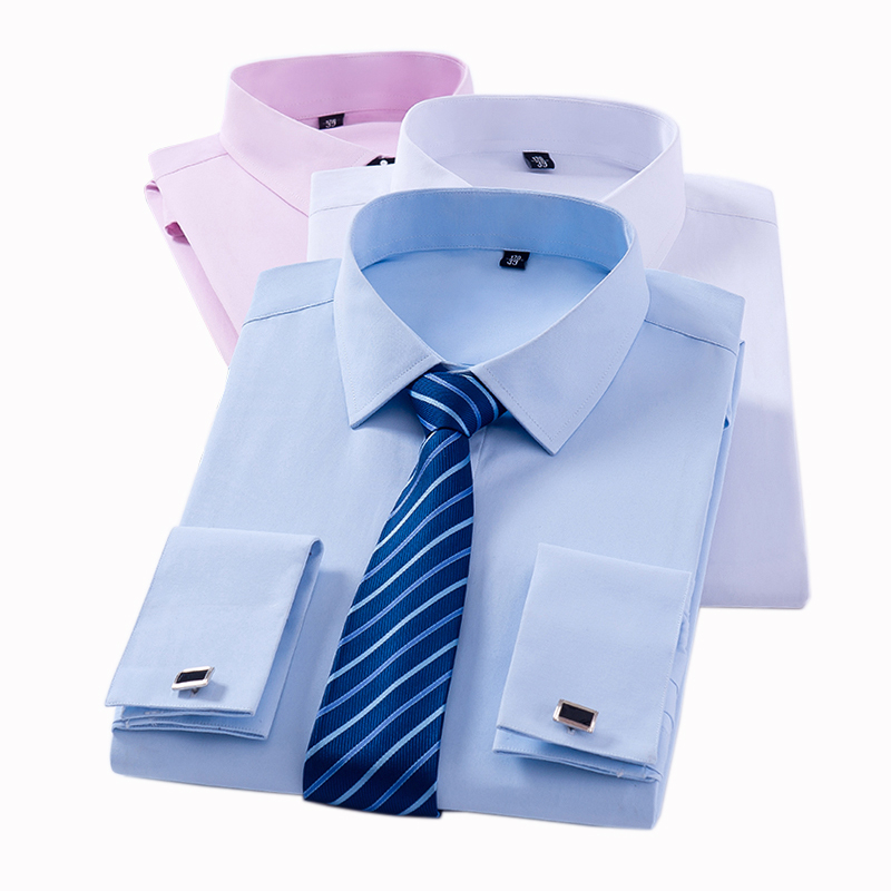 Men's Classic French Cuff Dress Shirts Long Sleeve No Pocket Tuxedo Male Shirt With Cufflinks