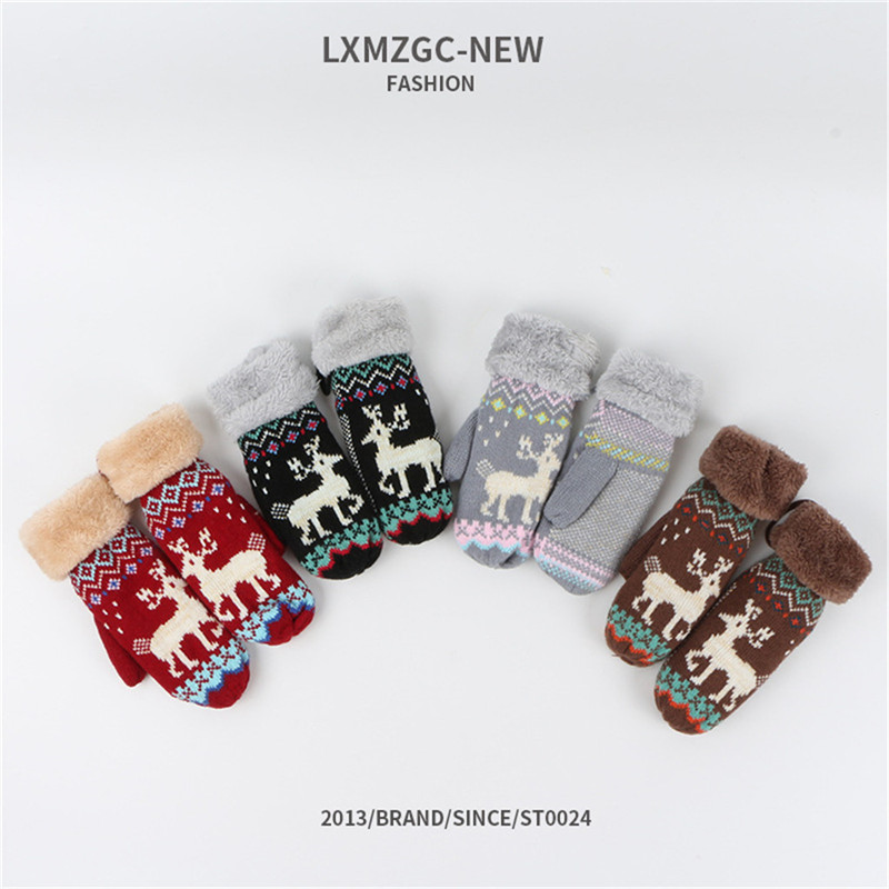 Unisex Winter Knitted Gloves New Children's Cute Christmas Deer Soft Design Warm Knitted Gloves Elegant Imitation 2020 NEW CD