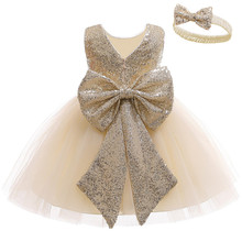 Newborn Baby Dress Lace Backless Baptism Clothes Sequins Bow