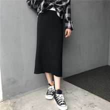 3 Solid Color Simple Basic Elastic Waist Winter Skirts Women Autumn Kpop Split Knitted Skirt Harajuku All-match Black Midi