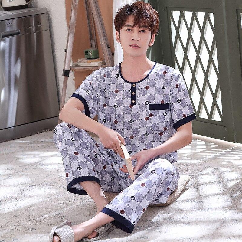 С коротким рукавом хлопок Мужские пижамы комплект лето пижамы пижамы пижамы 2шт свободные платье костюм халат плюс размер мягкий домашней одежды
