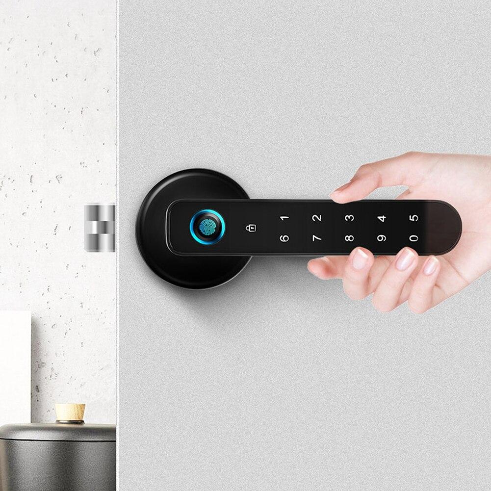 Биометрический замок со сканером отпечатков пальцев и паролем, автоматическая безопасность, умный дверной замок, USB-порт, подходит для семе...