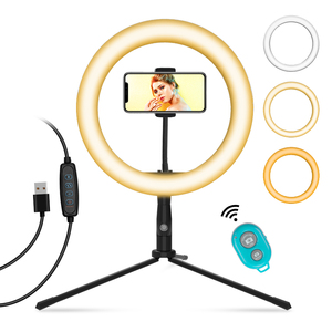 Image 2 - 6/10inch Dimmable Ring Light with Stand LED Camera Selfie Light Ring for Phone with Tripod Lamp for Makeup Video Photography