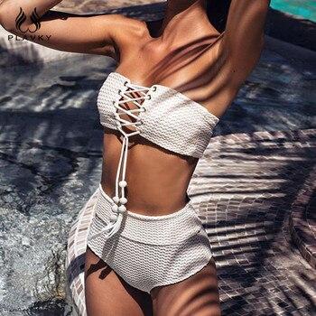Sexy White Ribbed Bandeau High Waist Bikini Fringe Lace Up Bandage Swimsuit Women Swimwear Beach Wear Women's Bikini 2020 ribbed splice tankini set bikini bandeau women swimsuit high waist female swimwear