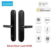 Aqara fechadura inteligente n100, trava de porta com senha bluetooth e desbloqueio nfc, funciona com mijia homekit