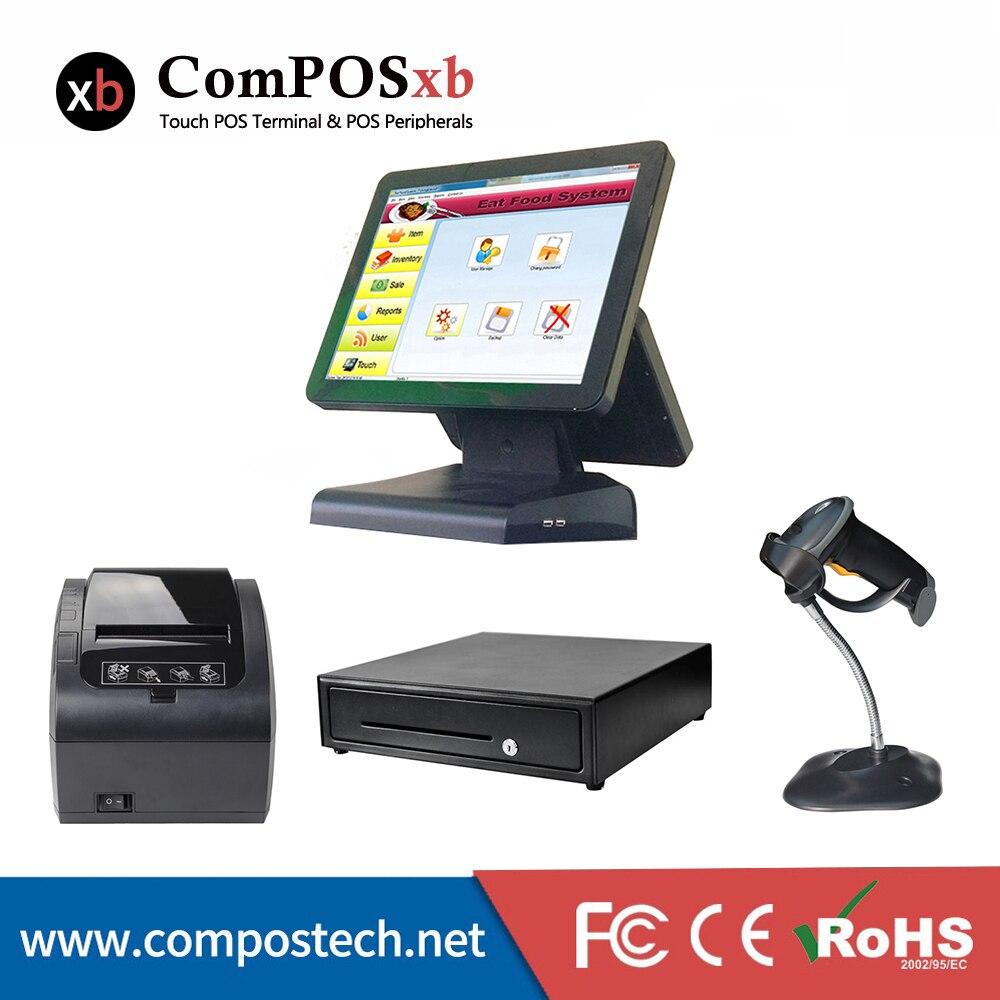 Double écran au détail système de position entrepôt scanner imprimante pos terminal epos machine pos pc