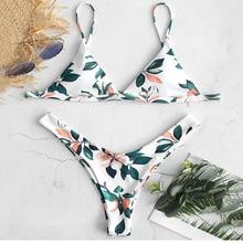 цена на 2019 Women Leaf Print High Leg Bikini Set Bathing Suit Women Push Up Bikini Maillot De Bain Femme Female Sexy Swimwear Swimsuit