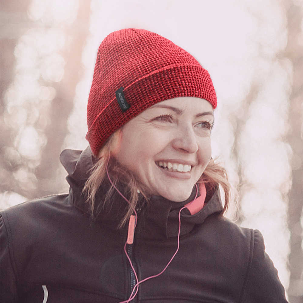 AONIJIE قبعة متماسكة قبعة الشتاء الدافئة الرياضة مترهل اليومية قبعة الرجال النساء الجمجمة قبعة لتشغيل ماراثون السفر الدراجات