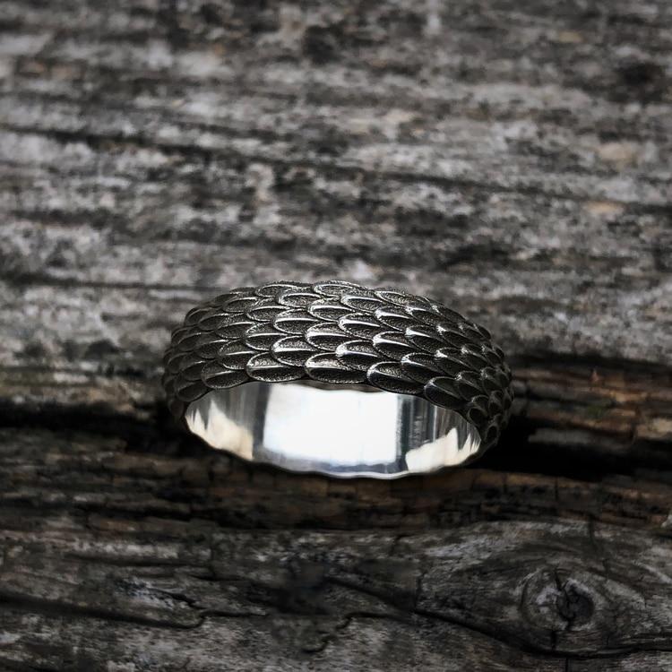 925 silber Original Design Einfache Persönlichkeit Drache Skala Ring Für Männer Schmuck Paar Ring - 6