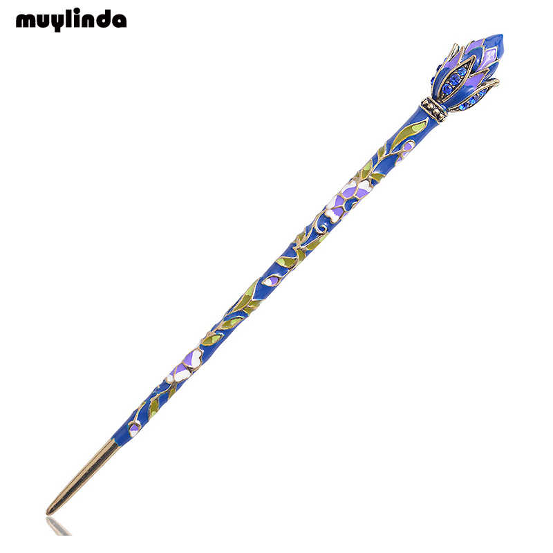 Small hair clip with ornament enamel hair jewelry gift idea woman
