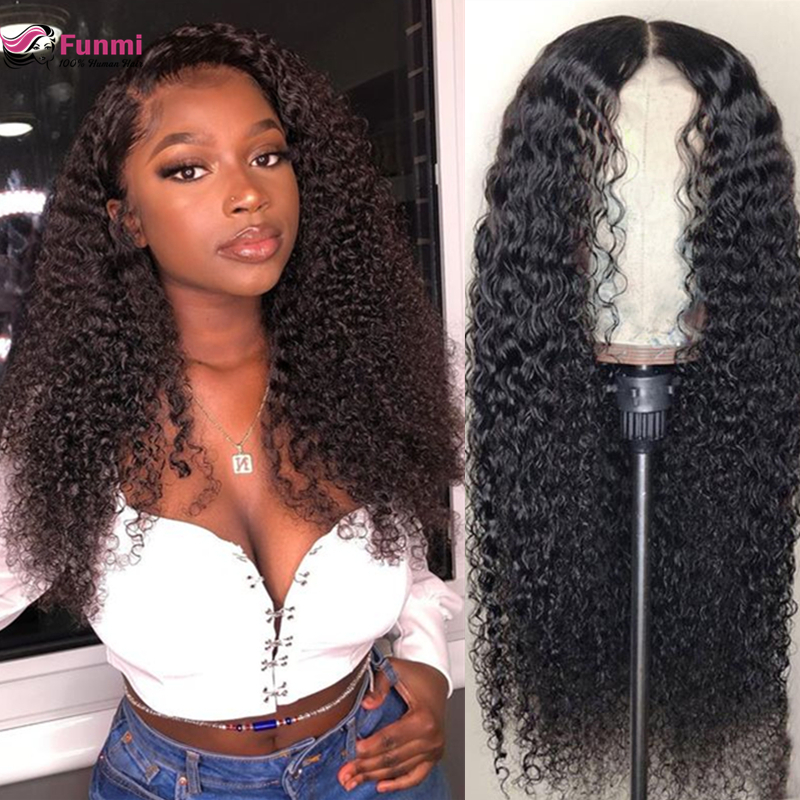 Mongolian Kinky Curly Human Hair Wigs 360 Lace Frontal Wig 150% Density Full Funmi HAIR Kinky Curly Lace Front Human Hair Wigs