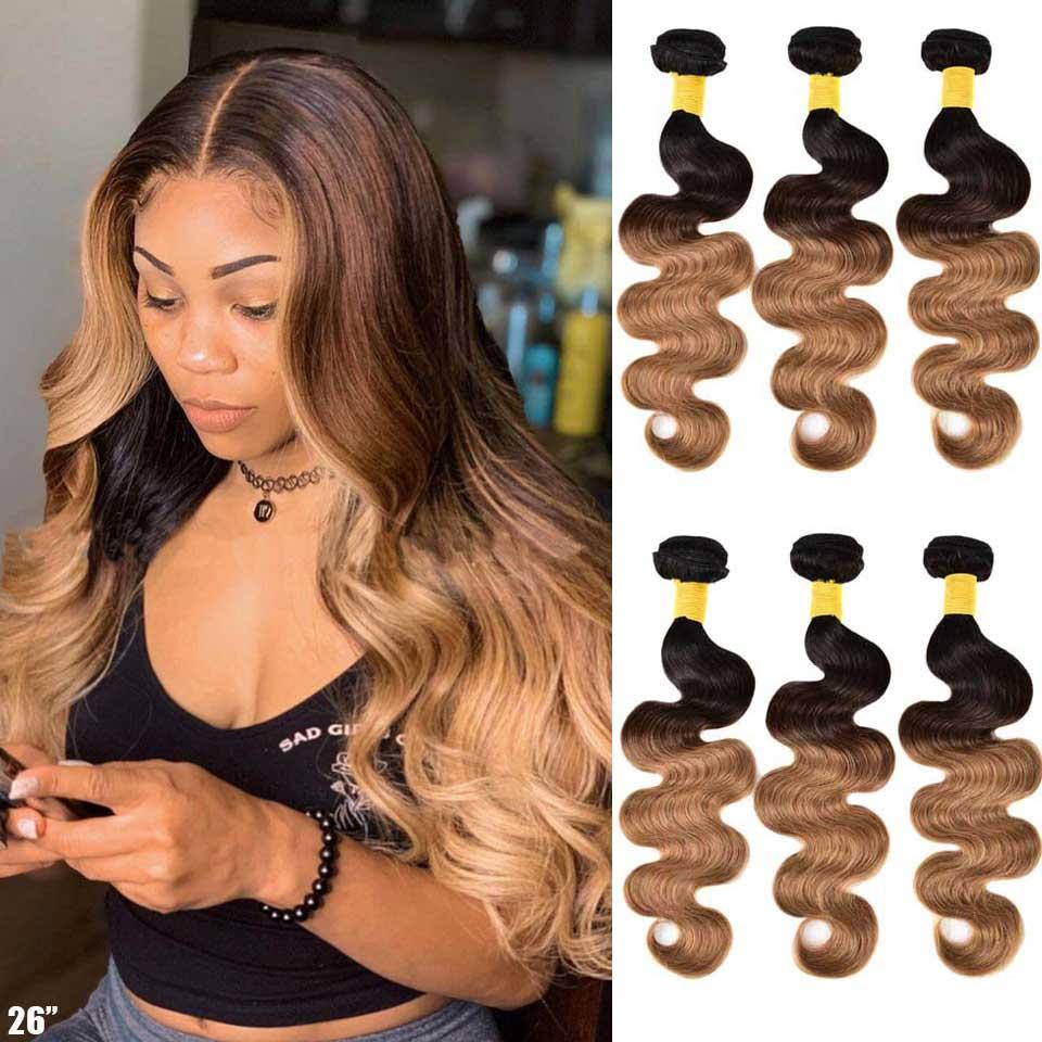 Ombre Body Wave Bundles Brazilian Hair Weave Bundles Honey Blonde Human Hair 3/4 Bundles Remy Ombre Human Hair Extensions
