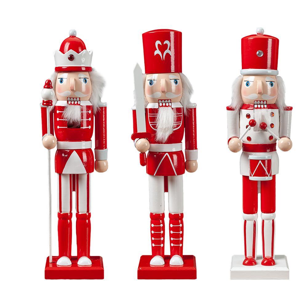 3 pièces/ensemble noël en bois casse-noisette soldat bijoux 38CM marionnette jouet cadeau décoration de chambre d'enfants ornement