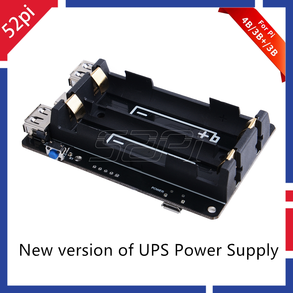 52Pi Original 18650 UPS Pro Power Supply Device Extended Two USBA Port for Raspberry Pi 4 B / 3B+ /3B, Not Include 18650 Battery