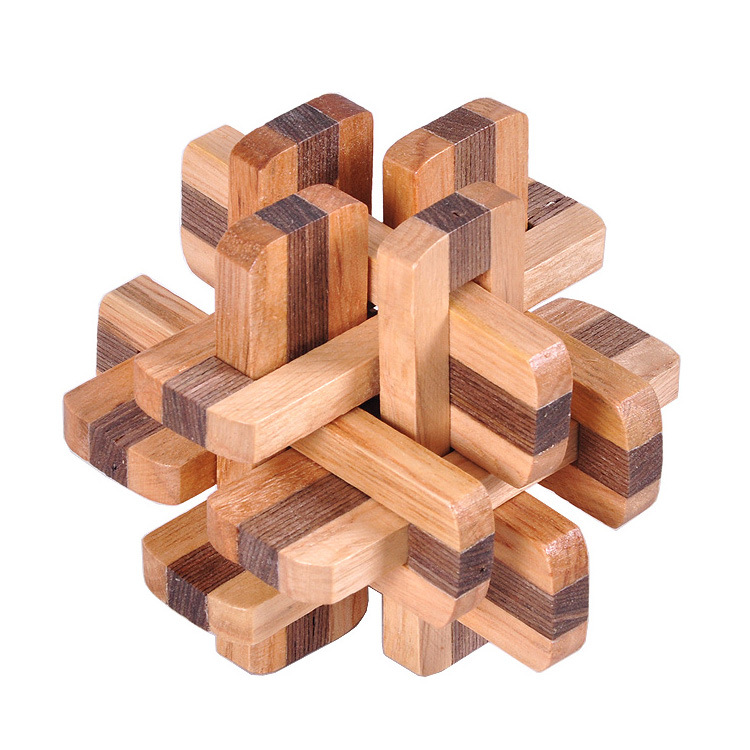 Classical Toy Adult Wooden Educational Toys Burr Puzzle Luban Lock Double Color Twelve Lock