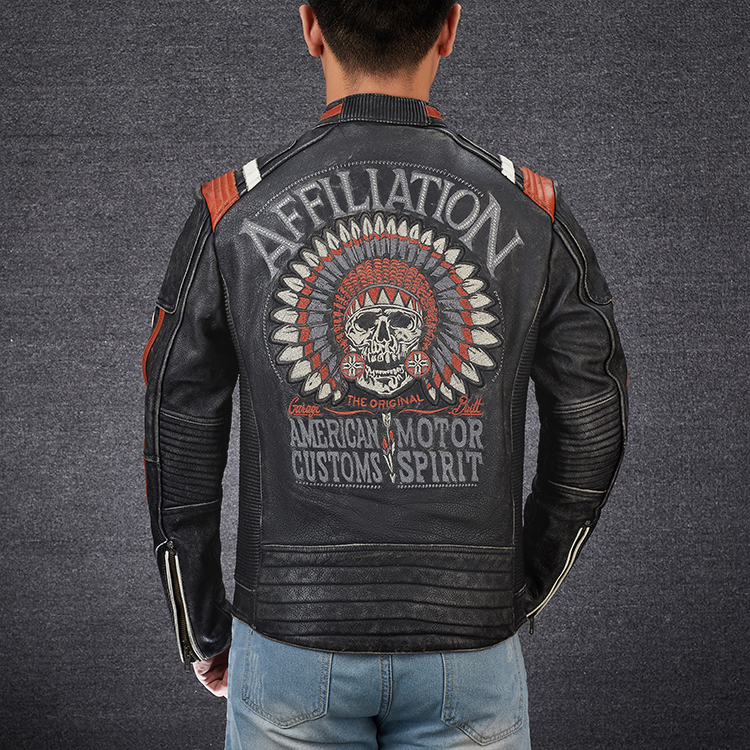 Hc65190c8dbfb428db50f6c2aeadf08b5g 2019 Vintage Black Men Leather Motorcyclist Jacket Skull Embroidery Plus Size 3XL Genuine Cowhide Short Biker Coat FREE SHIPPING