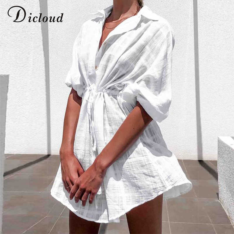 Dicloud Kasual Putih Plaid Kemeja Gaun Wanita Musim Panas Pantai Pareo Cover-Up Sundress Kasual Tunik Seksi Kapas Gaun