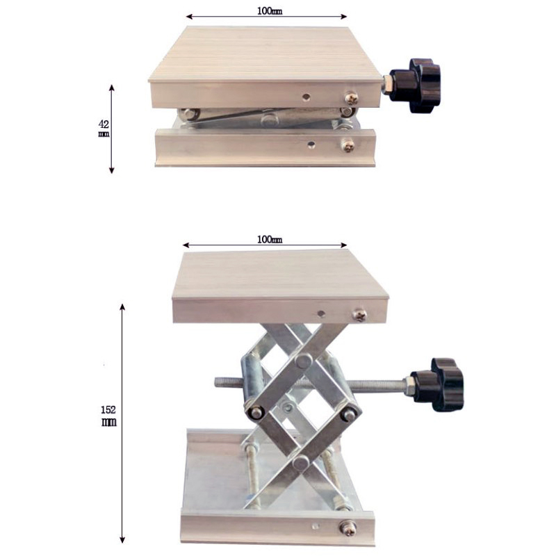 100x100mm Stainless Steel Adjustable Drill Lift Laboratory Lifting Platform Router Lift Table Woodworking Lab Lifting Stand RackHand Tool Sets   -
