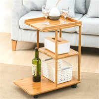 Natural bamboo multi layer coffee table living room small table Side cabinet modern removable sofa storage rack with wheels
