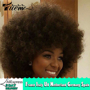 Trueme Afro Curly Human Hair Wigs Brown Red Blonde Brazilian Short Hair Wigs For Black Women Afro Curly Short Full Wigs(China)