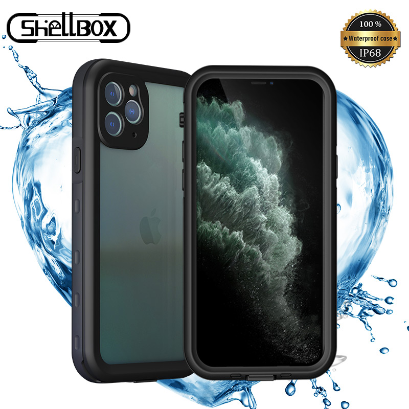 SHELLBOX <font><b>IP68</b></font> Wasserdichte Telefon Fall Transparent PC 360 Protector Stoßfest Fall Abdeckung für <font><b>iPhone</b></font> 11 Pro Max 6 7 8 X XR XS Max image