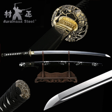 Real Japanese Katana Spring Steel Blade Full Tang Sharp Ready For Battle Handmade Samurai Sword Black