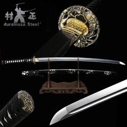 Real Japanese Katana Spring Steel Blade Full Tang Sharp Ready For Battle Handmade Samurai Sword-Black Wood Sheath -Black/White
