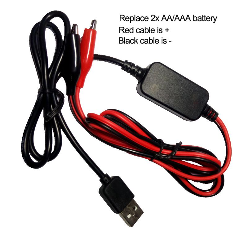 2x AA AAA Battery Eliminator USB 5V to 3V Step-down Cable Voltage Converter Line For Clocks Remote Control Toys
