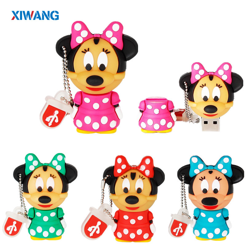 USB Flash Drive 128GB Mouse Mickey And Minnie Pen Drive USB 2.0 Animal Cartoon Pendrive 4GB 8GB 16GB USB Disk 32GB Pendrive 64GB