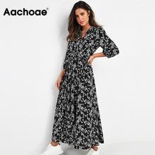 Aachoae Vintage çiçekli baskı Maxi elbise kadınlar Boho üç çeyrek kollu uzun elbise Turn Down yaka Casual gömlek elbiseler elbise