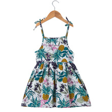 Summer Girls Dresses Cute Cotton Sleeveless Baby Beach Clothing Party Toddler Kids Sling Dress For Children Infant Costume 2 7years summer baby girls dresses cartoon cute infant party dress children clothing princess costume for kids clothes bc1234