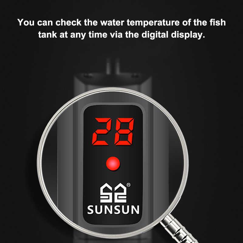 SUNSUN Aquarium Submersible เครื่องทำความร้อนถังจอแสดงผล LCD ดิจิตอลปรับน้ำเครื่องทำความร้อนอุณหภูมิคงที่ 500W