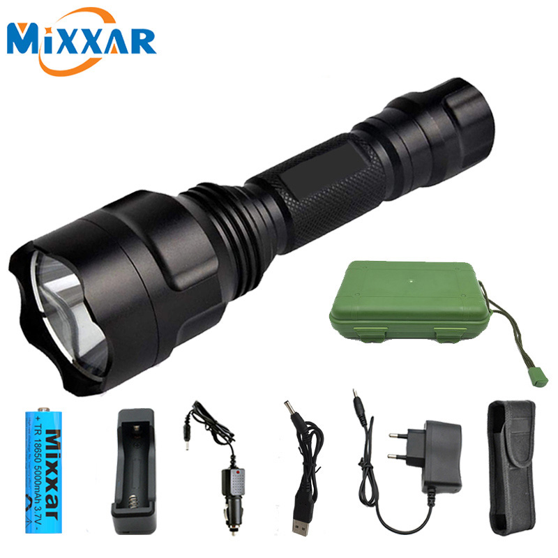 C8 LED Flashlight T6/L2 Torch 9500LM 5 Modes Dropshipping Riding Camping Hiking Hunting Light Lamp Toch+18650 Battery+charger