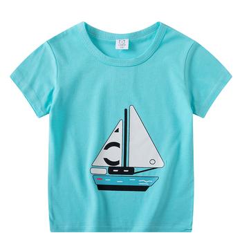 Chłopcy dziewczęta koszulki z krótkim rękawem ubrania dla dzieci bawełna lato topy koszulki odzież chłopcy dziewczęta łódź jednolite koszulki topy 100-110-120 tanie i dobre opinie Unini-yun COTTON Moda Cartoon REGULAR O-neck Pasuje prawda na wymiar weź swój normalny rozmiar 4 77