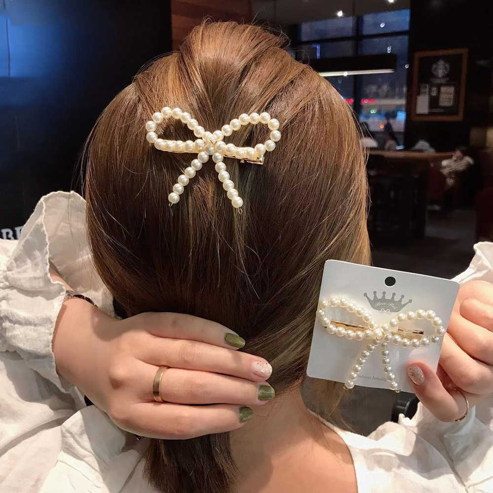 Fashion Wanita Korea Mutiara Imitasi Beads Rambut Klip Barrette Jepit Rambut Styling Aksesoris Buatan Tangan untuk Anak Perempuan