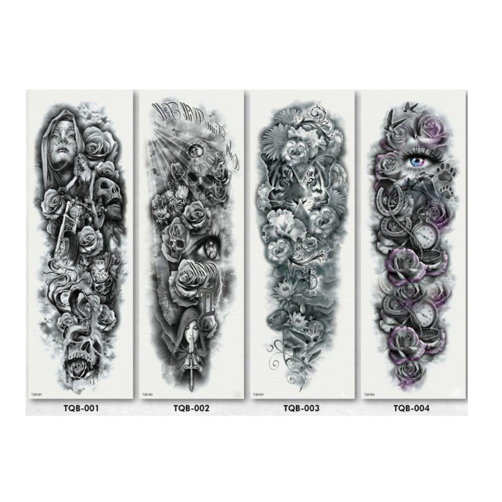 20 Styles Large Arm Sleeve Tattoo Skeletons Lions Tigers Peacock Totem Sleeve Sticker Waterproof Dragons Tatoo Tatto Tempor A9A9