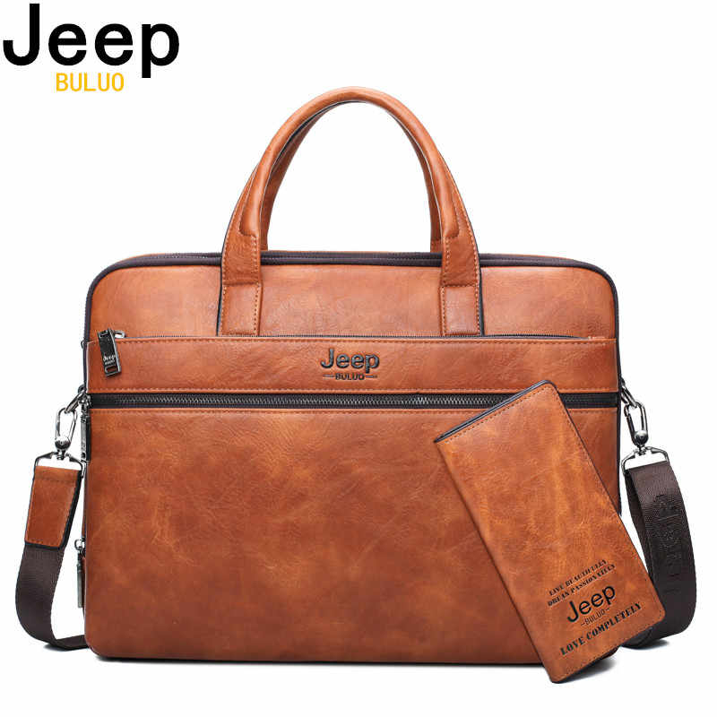 "JEEP BULUO Men's Briefcase Bags For 14"" Laptop Man Business Bag 2Pcs Set Handbags High Quality Leather Office Shoulder Bags Tote"
