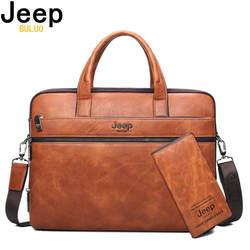"""Jeep buluo для мужчин's портфели сумки для 14 """"ноутбук деловая сумка для мужчин комплект из 2 предметов Высокое качество кожа офис на плечо Tote"""