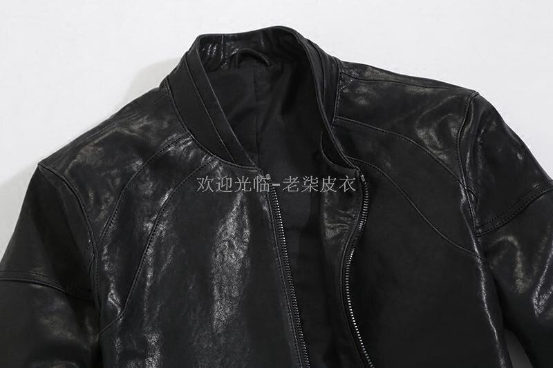 Spring Autumn Genuine Men Short Real Sheepskin Coat Motorcycle Bomber Jacket Slim Leather Jackets 12-012 KJ2285