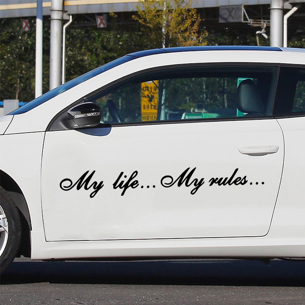 Three Ratels TZ-640 7*57cm Quote Decal My life...My rules... Car Stickers and Frase Decals Auto Sticker