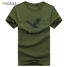 New Pure cotton Short  brand T Shirt Mens large size Slim Fit Fashion Eagle Printed t-shirt men plus Size S -5XL