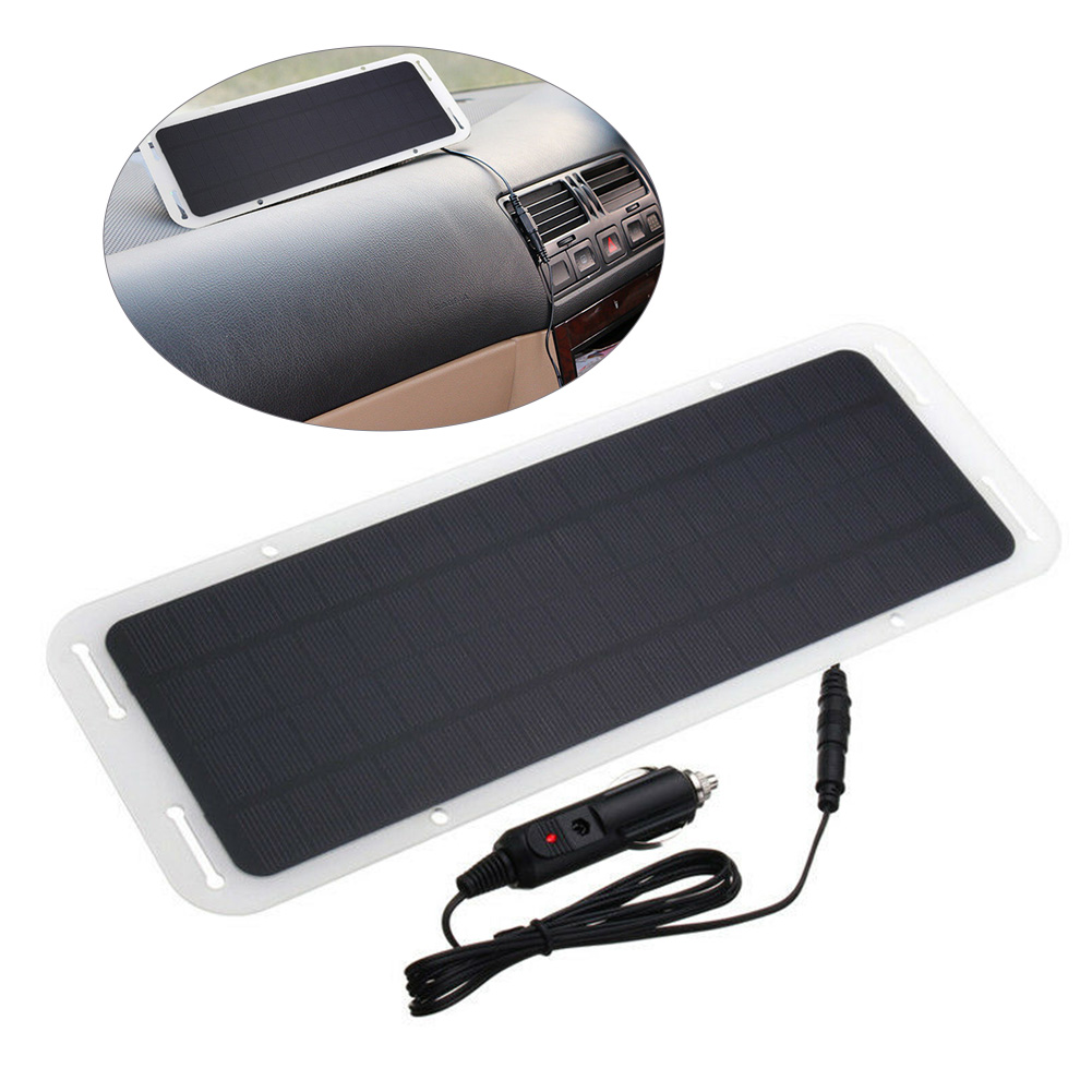 18V <font><b>5W</b></font> Portable Ultra Thin Multifunctional Monocrystalline Silicon <font><b>Solar</b></font> <font><b>Panel</b></font> Charger USB Port for <font><b>12V</b></font> Car Boat Motorcycle image