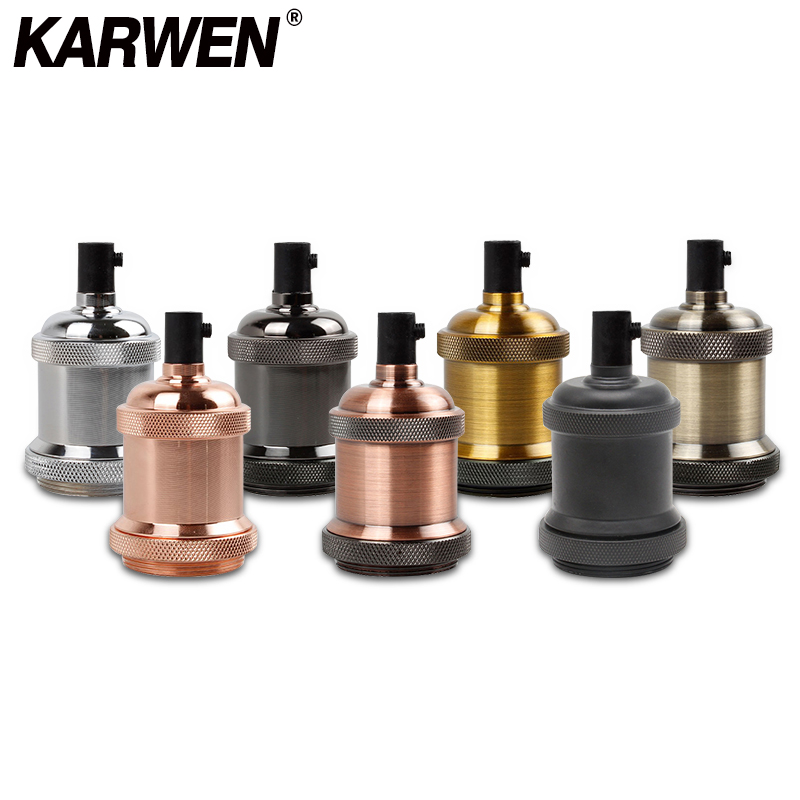 KARWEN E27 Lamp Holder Vintage Edison Bulb Base E26 Screw Bulb Base 110V 220V Aluminum Light Socket Industrial Retro Pendant Fittings Lampholders Fixture