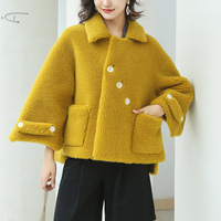 Winter Women High Quality real lambswool Fur OverCoats Luxury Short casual Thick Warm Plus Size Female 2019 yellow free ship