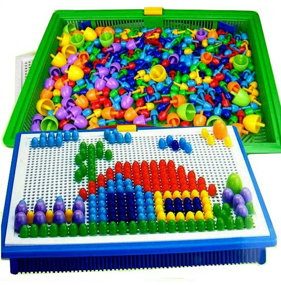 296 Pc/set  Mushroom Nail Intelligent 3D Puzzle Games Plastic Flashboard Baby Toys Gift For Children Educational Toy