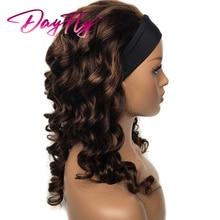 Ombre Headband Wigs Human Hair Funmi Curly Headband Human Hair Wigs for Women Brazilian Highlight Wigs P4 30 T1B 30 Colored Wig
