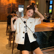 Autumn 2019 New Women Clothes Small Fragrance Button Tide Single Breasted O-Neck Jacket Coat